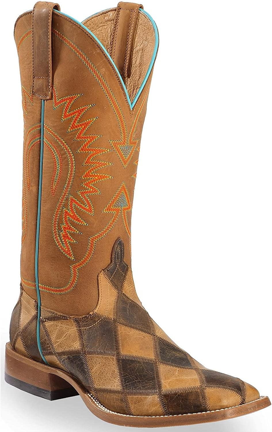 [Horse Power] メンズパッチワークWestern Boot Square Toe – hp1053 Honey Crazy Horse 9 D(M) US