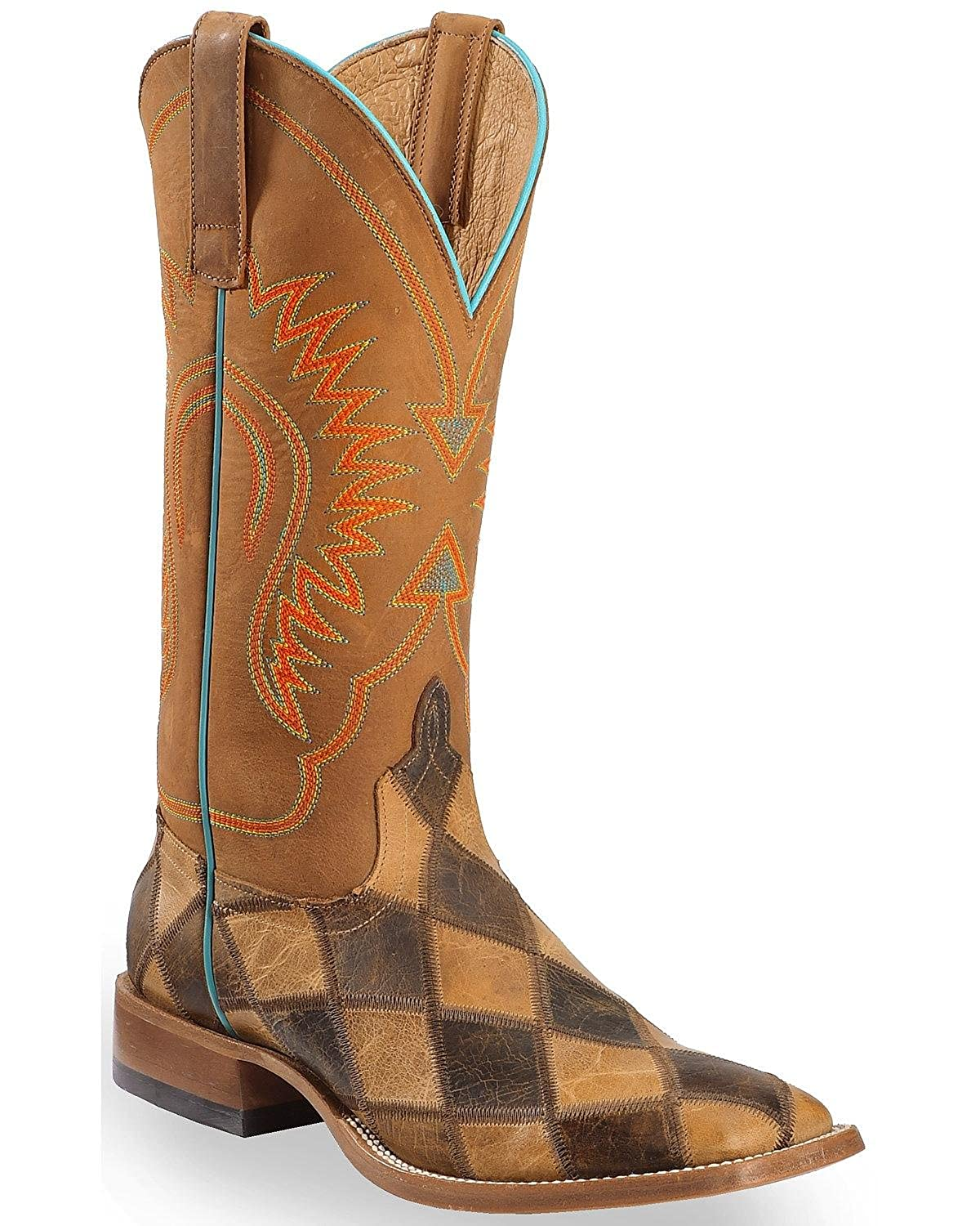 [Horse Power] メンズパッチワークWestern Boot Square Toe – hp1053 11 2E US Honey Crazy Horse B013Z5OHMS