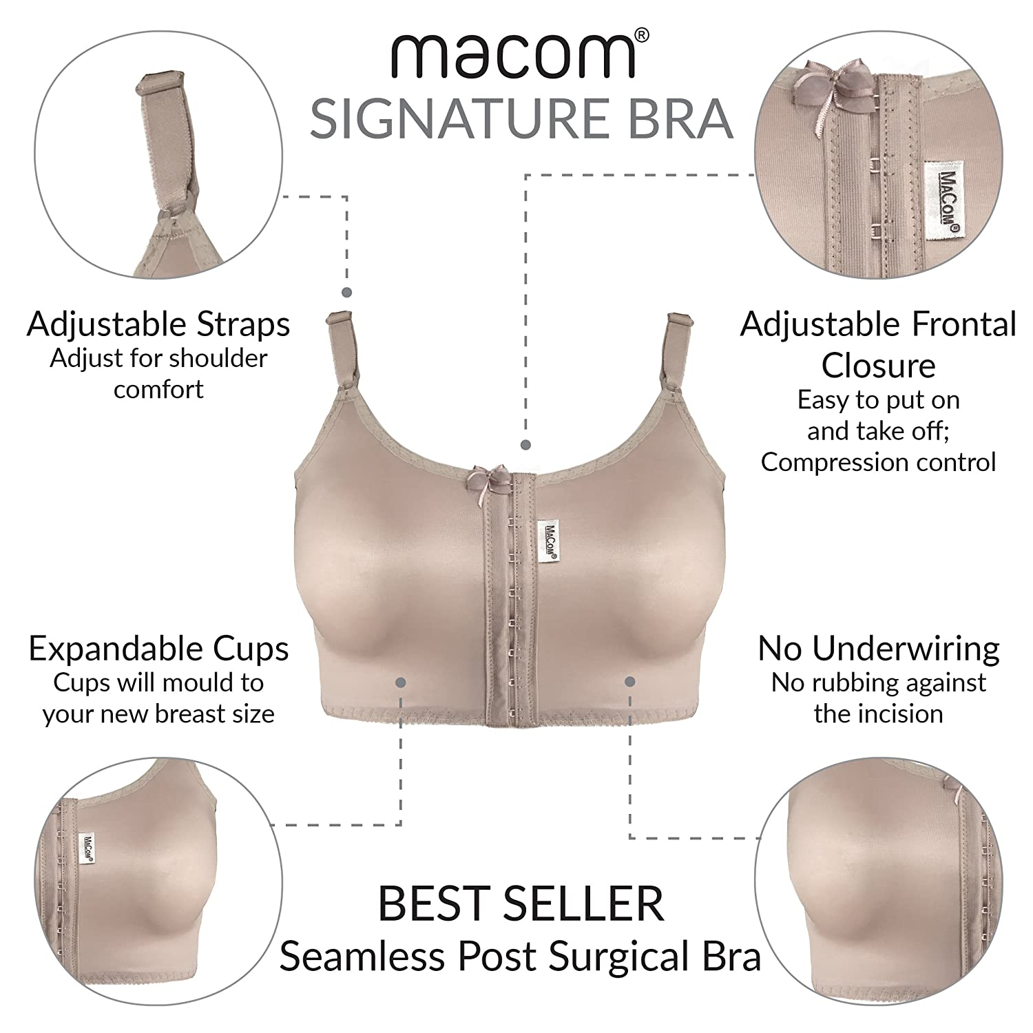 50d8391630ee6 Signature Post Surgical Bra - Front Fastening - No Cup Size Needed   Amazon.co.uk  Clothing