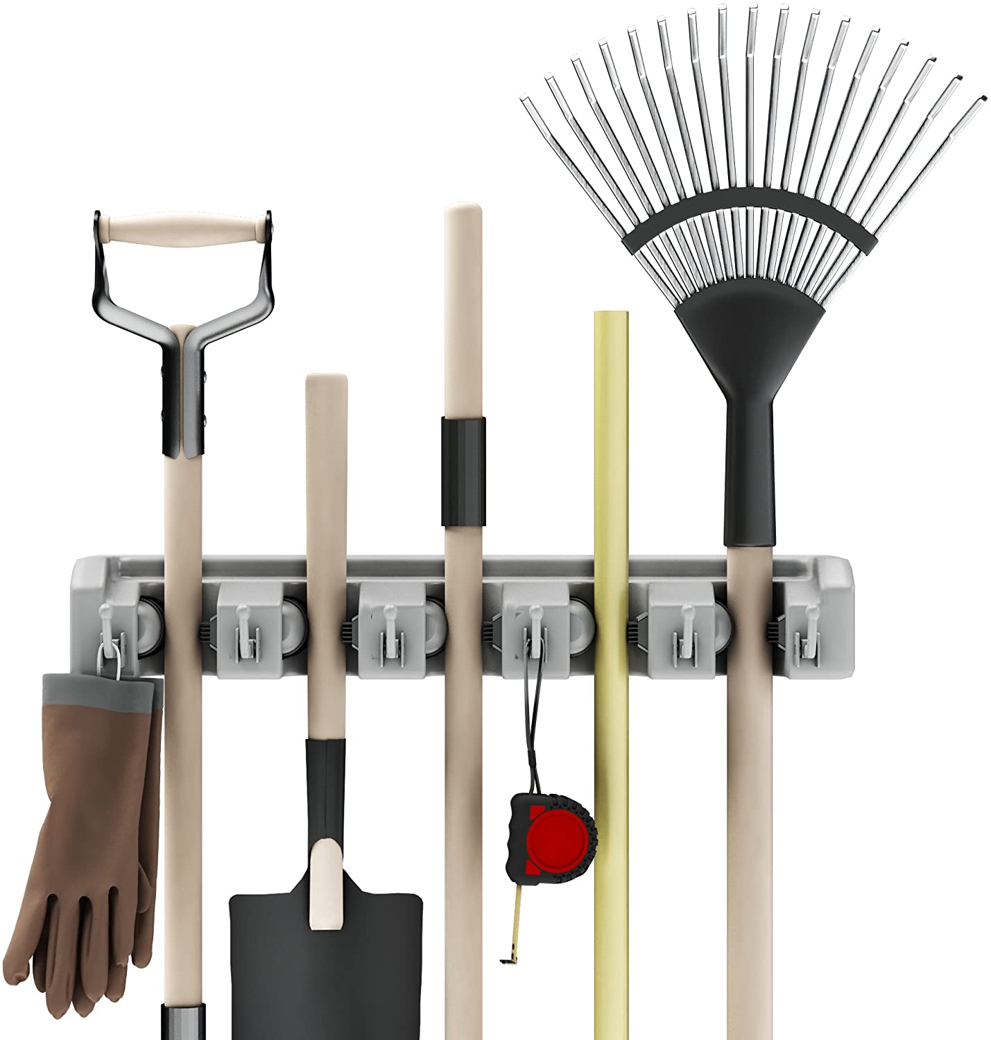 Shovel, Rake and Tool Holder with Hooks