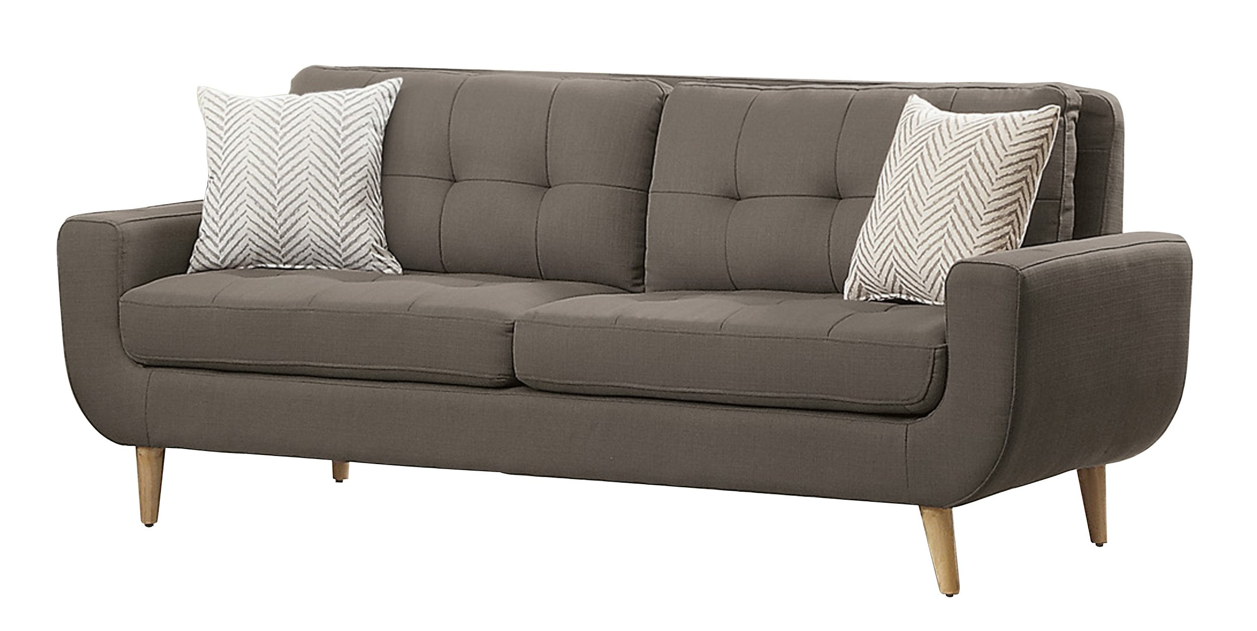 Homelegance Deryn Mid-Century Modern Sofa with Tufted Back and Two Herringbone Throw Pillows, Grey