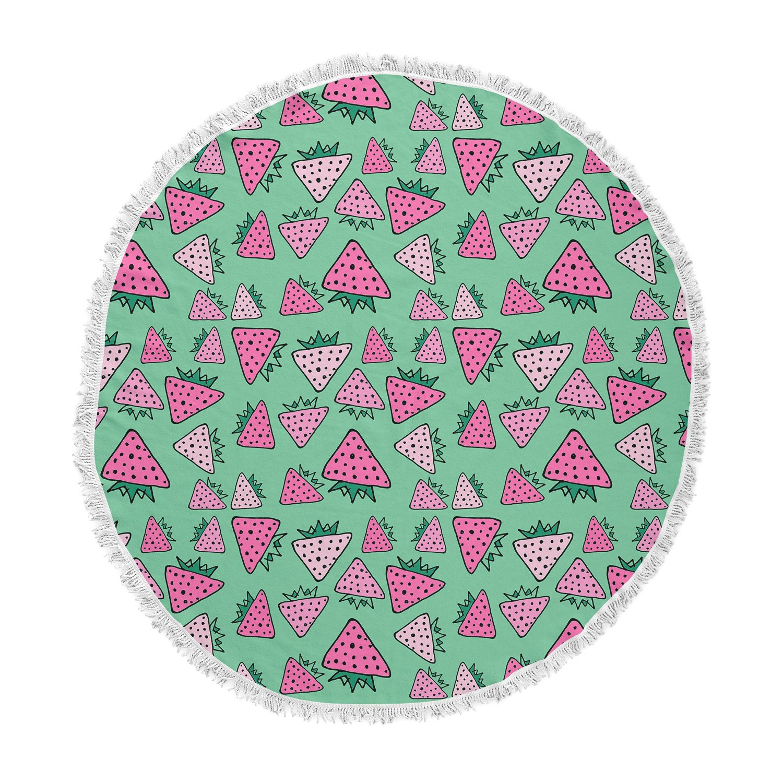 Kess InHouse Bruxamagica Strawberry Green Pink Mixed Media Round Beach Towel Blanket