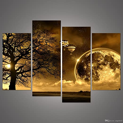 Night Sky 4PC Unframed Modern Abstract HD Canvas Prints wall art paintings