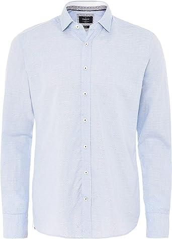 Hackett Hombres una Camisa de algodón de Corte Delgado Blue