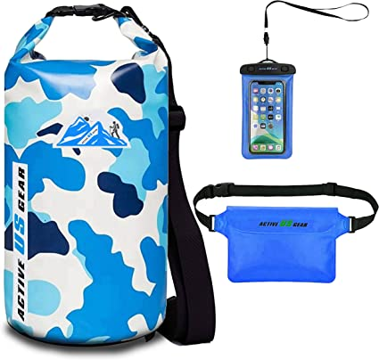 Amazon Com Floating Waterproof Dry Bag With Touch Friendly Phone Case And Waist Pouch Backpack 5l 10l 20l 30l Dry Sack Wet Bag For Kayaking Fishing Swimming Beach Boating Water Sports Rafting Camoblue 10l