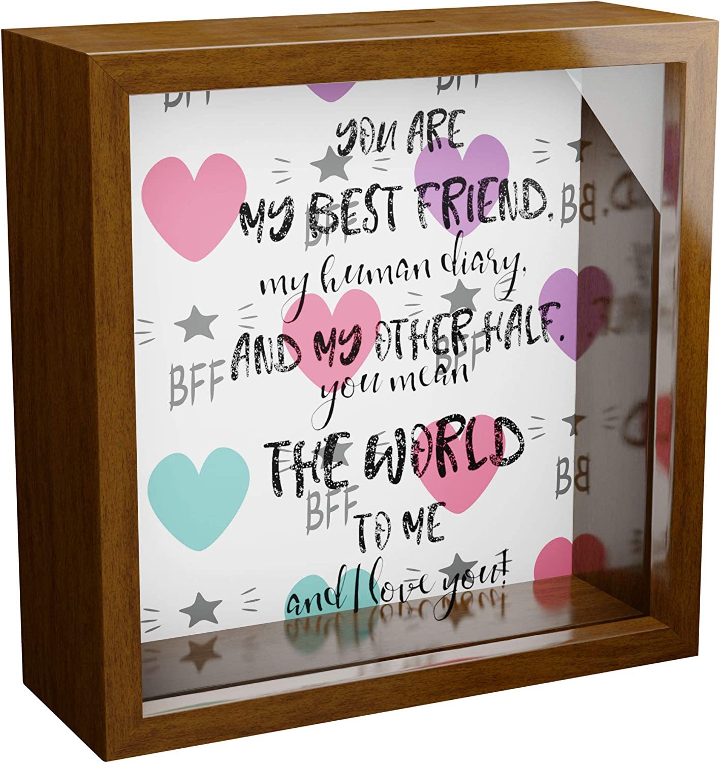 for Women 6x6x2 Wooden Keepsake Box with Glass Front Wall Decor Frames for Bestie Friendship Memorabilia Shadow Box for Girls Great to Collect Special Items