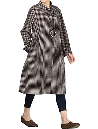 1ddf7b1f747 Mordenmiss Women s Check Plaid A-Line Flare Pleated Shirt Dress with  Pockets M Black