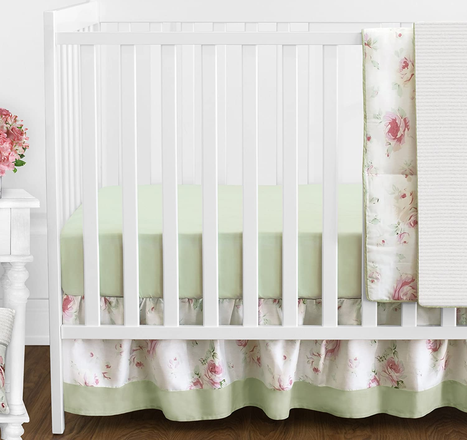 Amazon Riley s Roses Pink and Sage Green Shabby Chic Floral