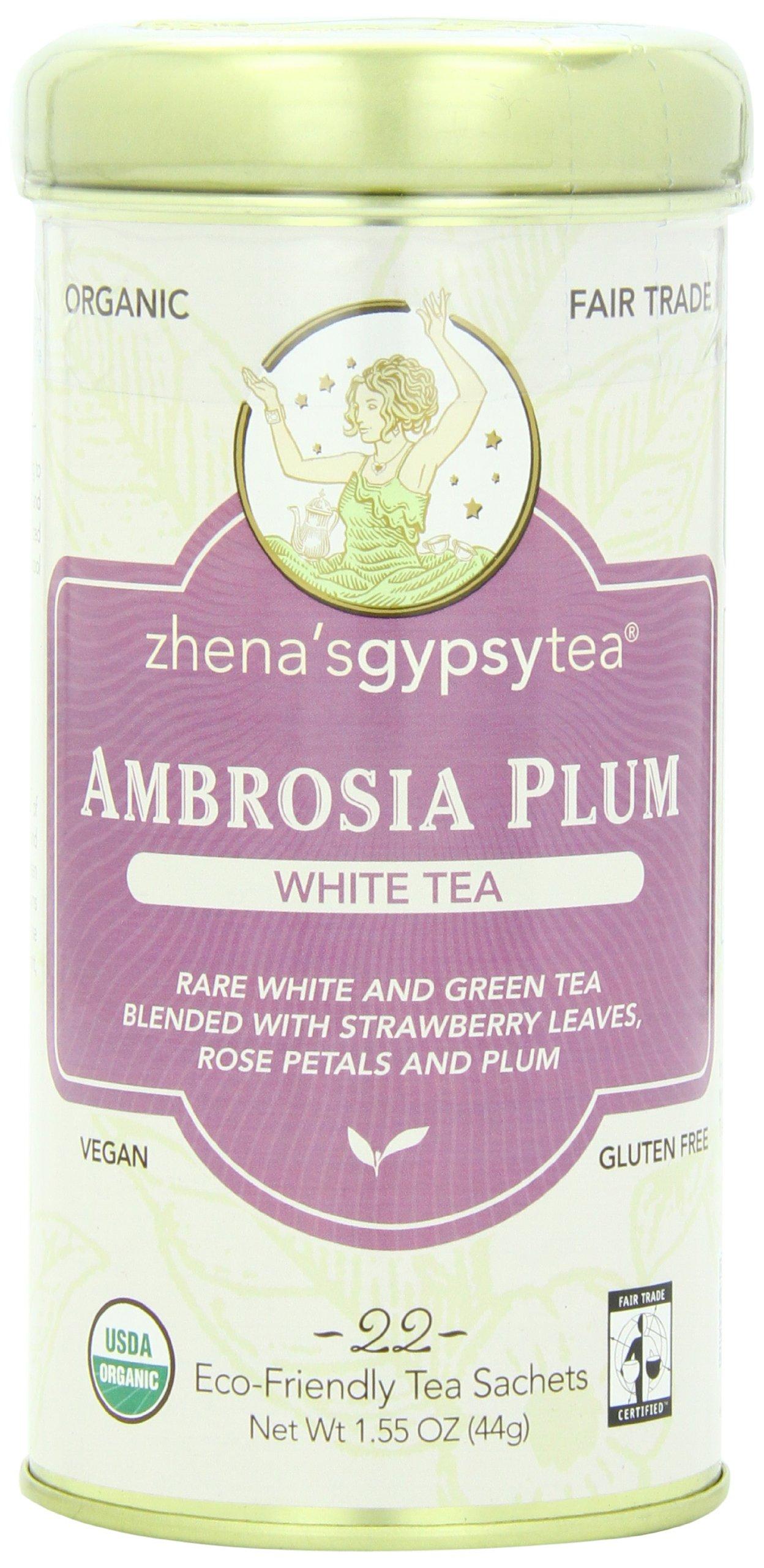 Zhena's Gypsy Tea, Ambrosia Plum, 22 Count Tea Sachet, 1.55 Oz