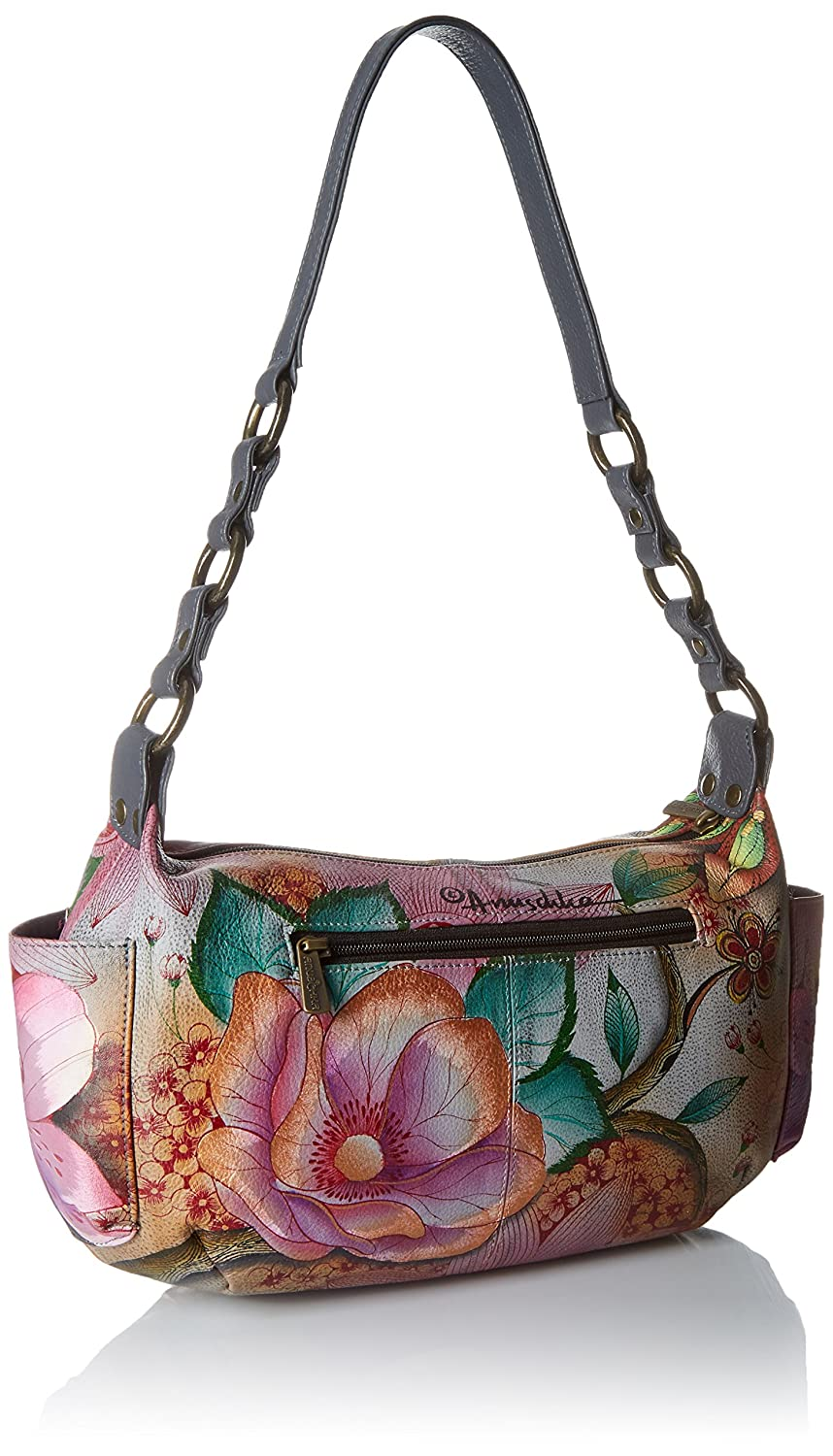 e9497b95fd Amazon.com  Anuschka Handpainted Leather East West with Side Pockets ...