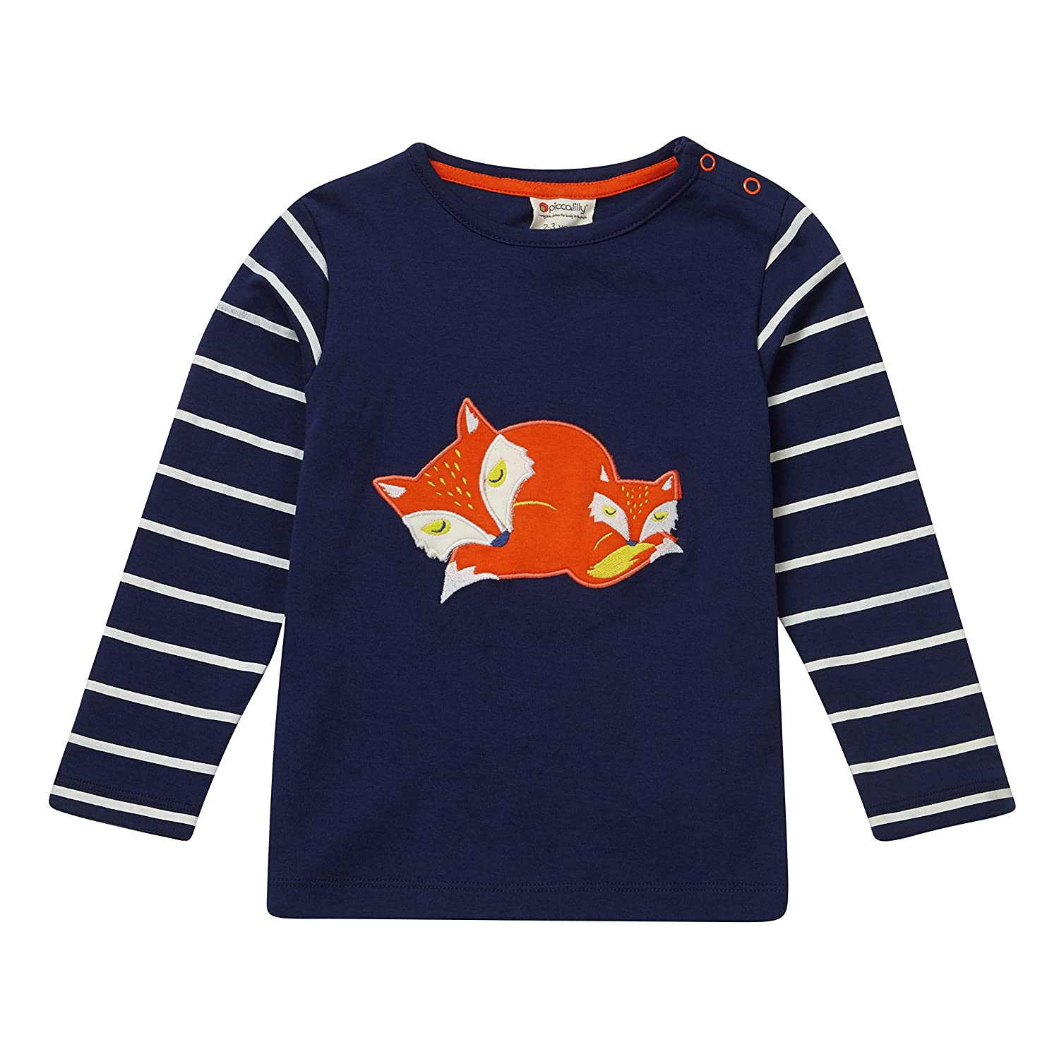 Piccalilly Organic Cotton Unisex Navy Blue Sleeping Foxes Long Sleeved Top