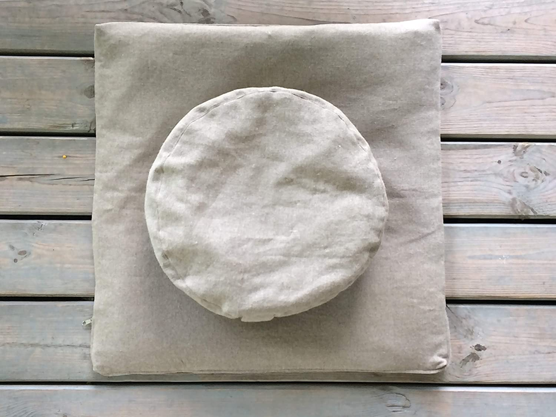 PILLOWHOLIC Meditation set Round Zafu & Zabuton Yoga Mat Meditation Cushions removable covers Filled with Eco buckwheat and 100% linen