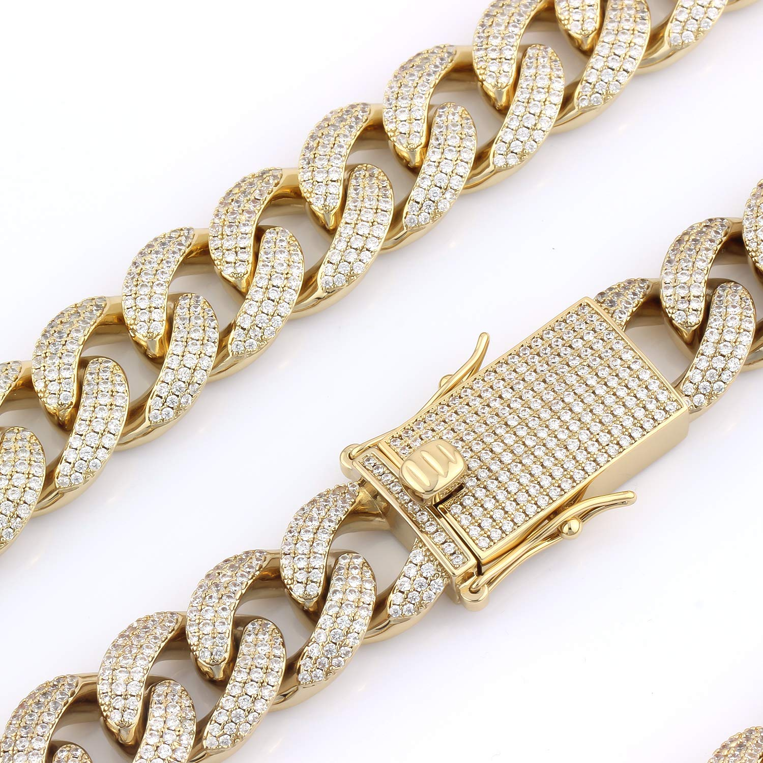 9c3f68273b081 GOLD IDEA JEWELRY 18mm Iced Out Cubic Zirconia Hip Hop Miami Cuban Link  Bracelet for Men 8.5