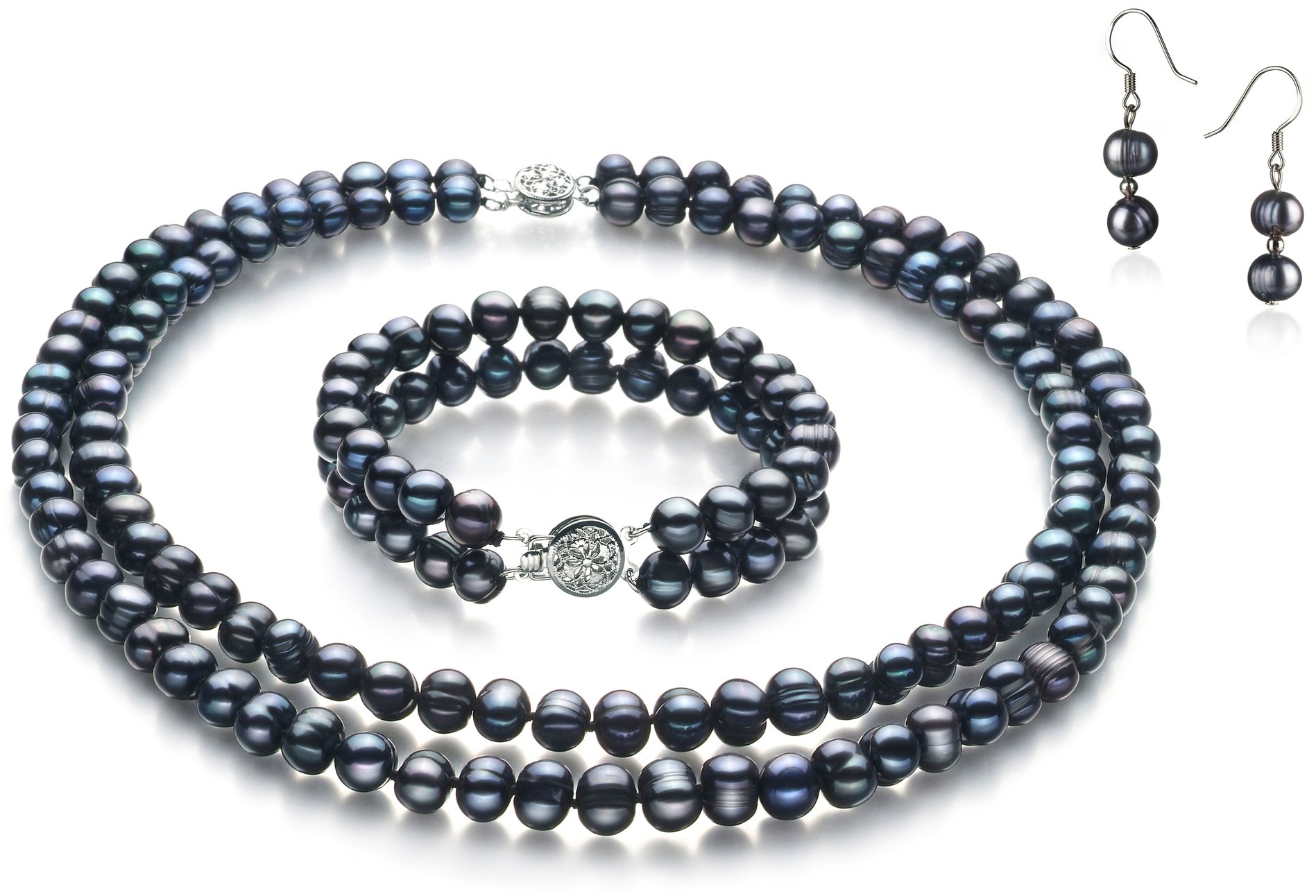 PearlsOnly Julika Black 6-7mm Double Strand A Quality Freshwater Cultured Pearl Set-18 in Princess length