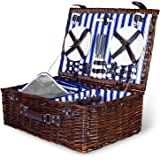4 Person Wicker Picnic Basket: Deluxe Woven Willow Vintage Hamper Set - Porcelain Plates, Stainless Steel Silverware, Opener and Glass Wine Glasses; Free Cold Storage Bag; Extra-Large 22 by 15 in.