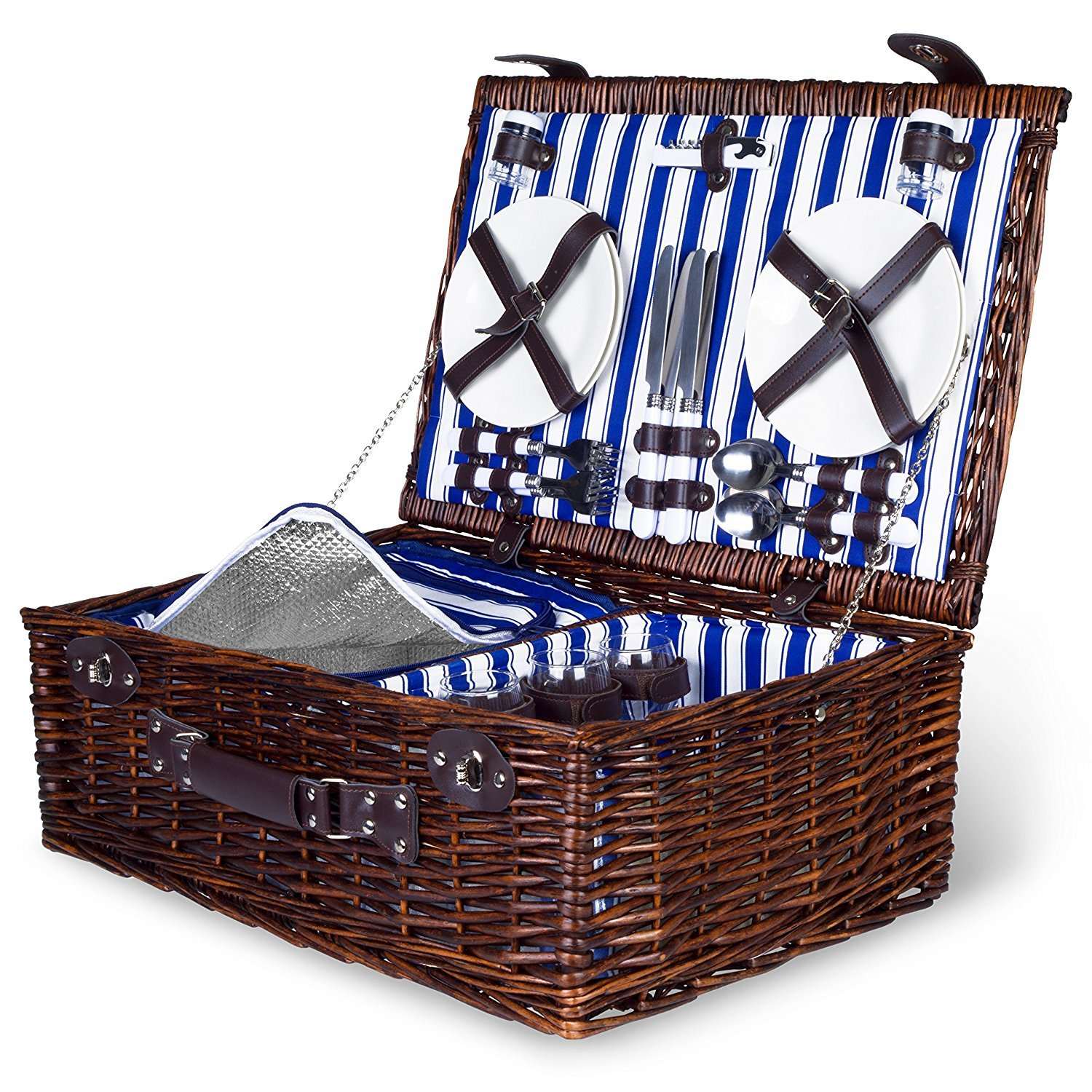 4 Person Wicker Picnic Basket: Deluxe Woven Willow Vintage Hamper Set - Porcelain Plates, Stainless Steel Silverware, Opener and Real Glass Wine Glasses; Free Cold Storage Bag; Extra-Large 22 X 15 in.