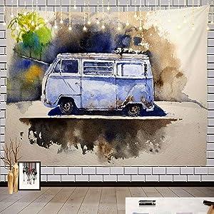 Batmerry Watercolor Retro Hippie Tapestry, Watercolor Retro Bus Drawn Volkswagen Hippie Van Picnic Mat Hippie Trippy Tapestry Wall Art Decor for Bedroom Living Room, 51.2 x 59.1 Inches, Retro Bus