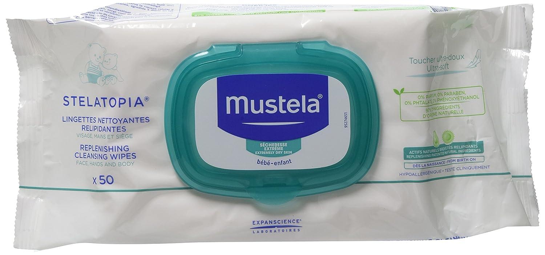 Mustela Stelatopia 50 Replenishing Cleansing Wipes Baby Emollient Cream