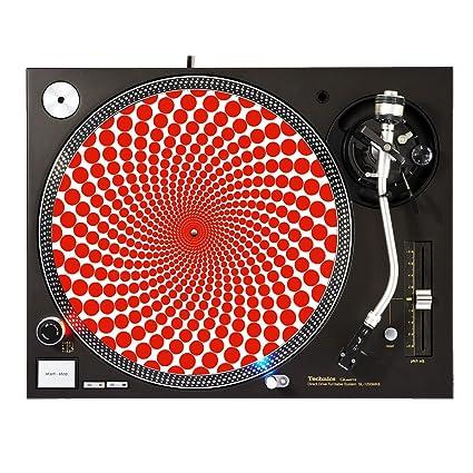 Amazon.com: Rojo lunares – DJ turntable – Slipmat para plato ...