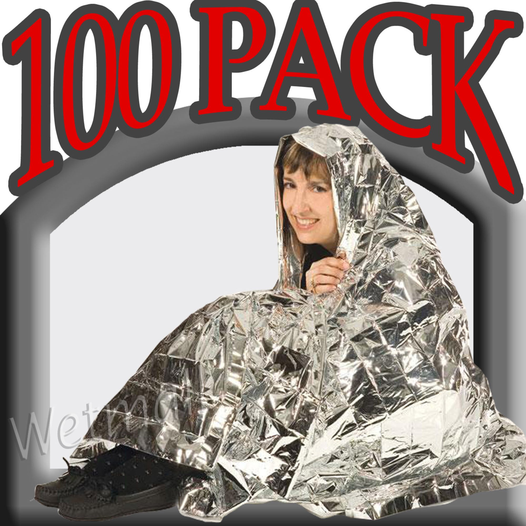 100 PACK • Emergency Solar Blanket Survival Safety Insulating Mylar Thermal Heat by SE (Image #3)