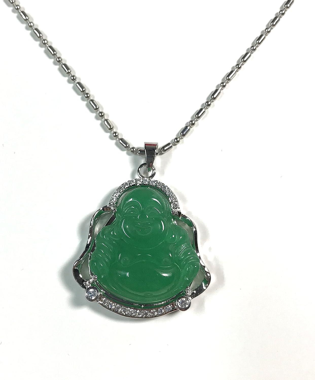 Chinese FengShui Buddha Natural Jadeite Jade Pendant Charm