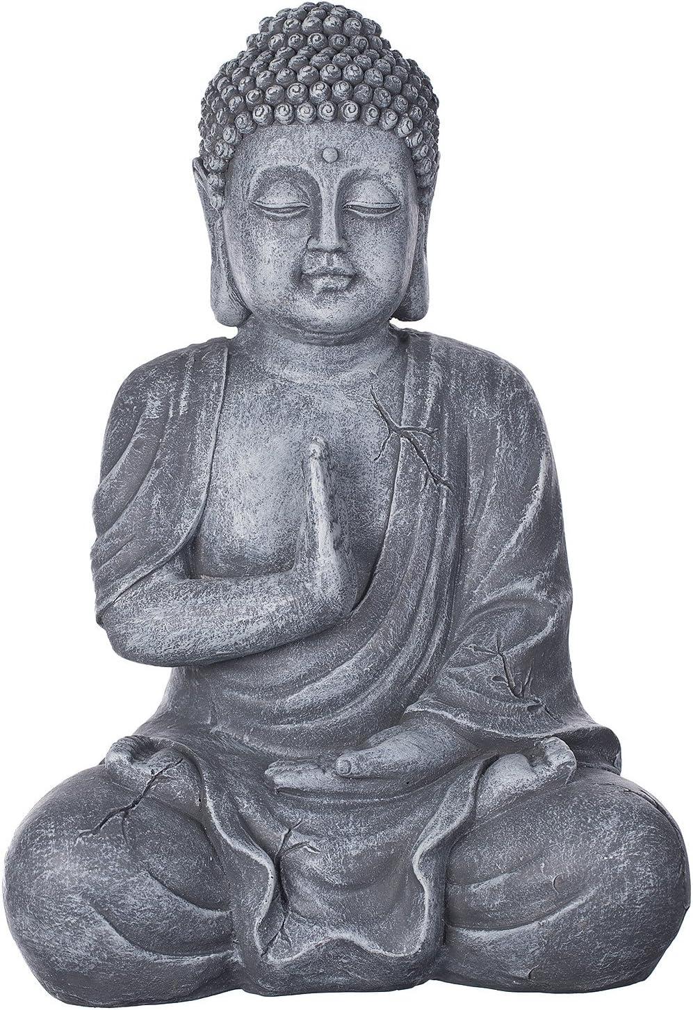 Buda b4017piedra gris, para interior y exterior, Figura de Buda XL 43cm de alto, Buda Estatua grande, de busto, Jardín Decoración, impermeable (No a las heladas) de piedra artificial (polirresina) m
