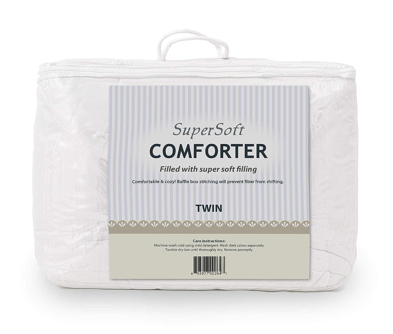 Mastertex Twin Comforter - Super Soft Microfiber Comforter Cozy Filling - Lightweight - White Comforter Twin size - Down Alternative Comforter COMINHKR077641