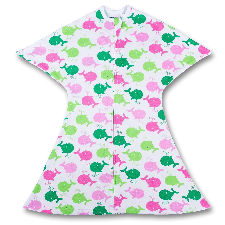 SleepingBaby Zipadee-Zip Swaddle Transition Baby Swaddle Blanket with Zipper, Cozy Baby Swaddle Wrap and Baby Sleep Sack (Medium 6-12 Months | 18-26 lbs, 29-33 inches | Pink & Green Whales)