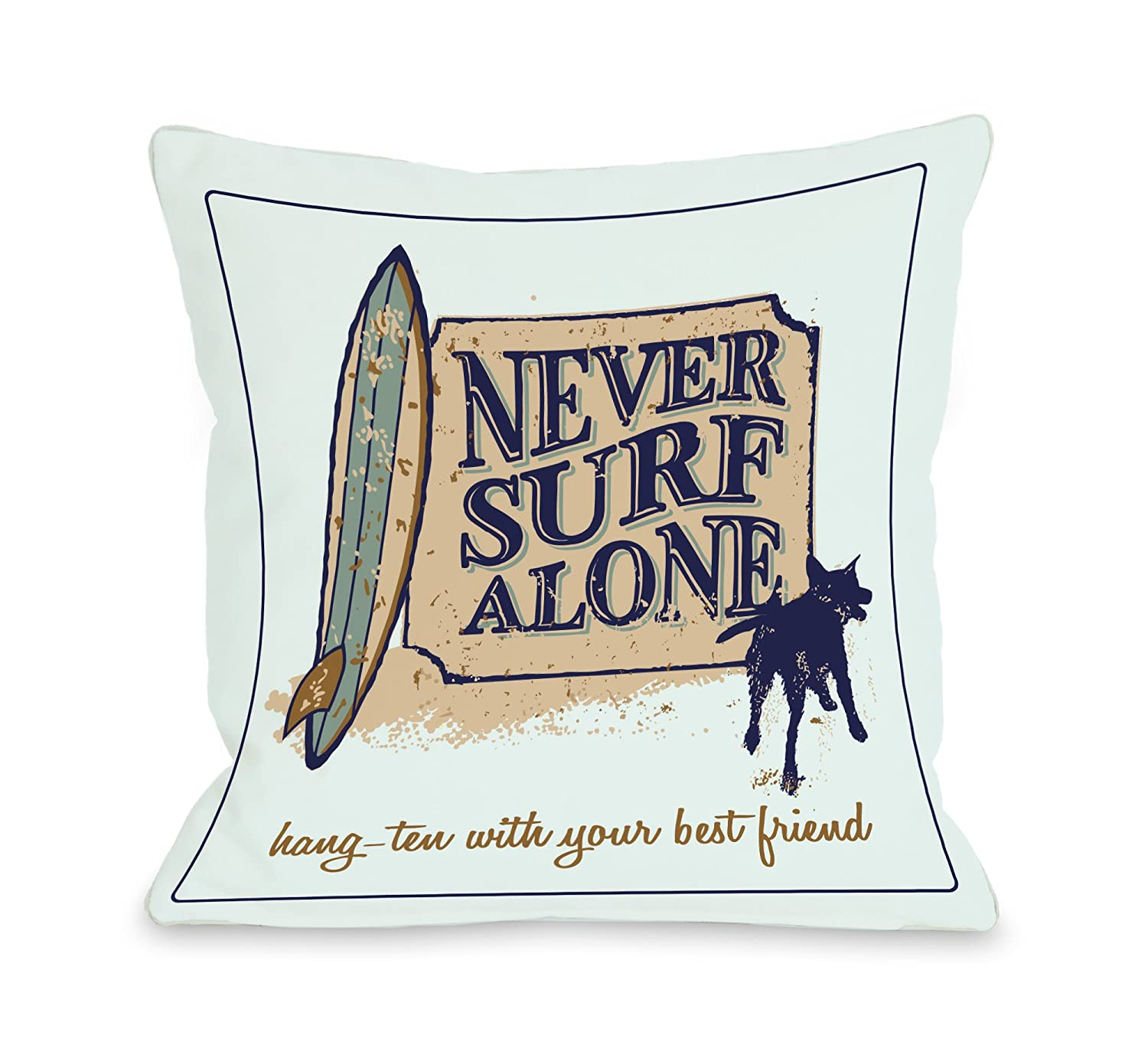 18 by 18-Inch One Bella Casa Never Surf Alone Pillow, 18 by 18-Inch