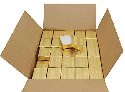 Amazon Com Cotton Filled Jewelry Gift Box Gold Foil 2 X1 5 X5 8