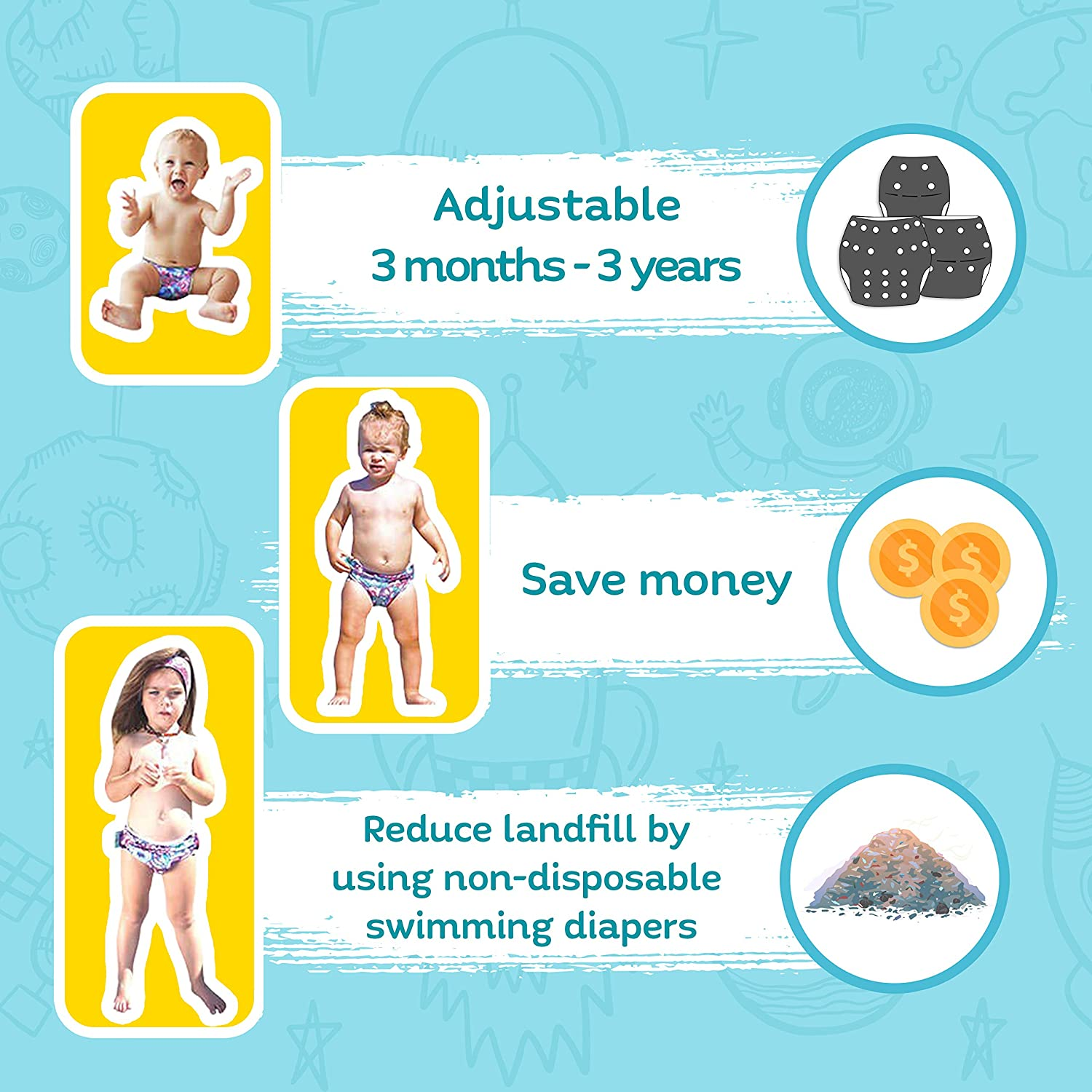 Reusable Swim Diapers for Boys by Will /& Fox Eco-Friendly Washable Swimming Diaper 0-3 Years Aqua Fish 1 Pack Adjustable Snaps for Babies /& Toddlers