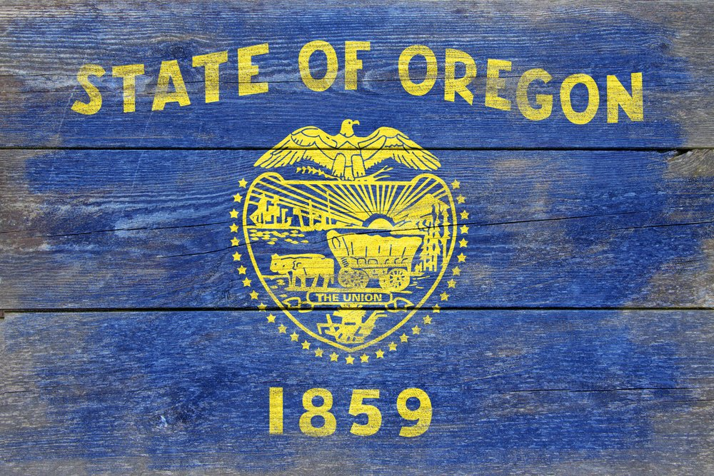 Rustic Oregon State Flag (24x16 Gallery Quality Metal Art)