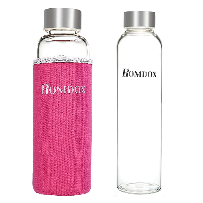 Homdox Botella de Agua para Llevar de Vidrio Borosilicato(360ml ...