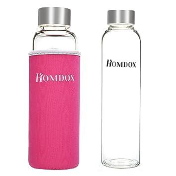 Homdox Botella de Agua para Llevar de Vidrio Borosilicato(550ml)