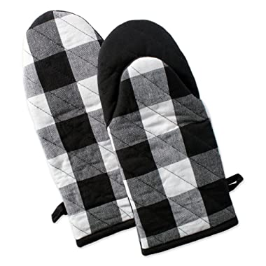 DII Buffalo Check Plaid Oven Mitts, Heat Resistant for Everyday Kitchen Cooking and Baking, Perfect for Holidays or Hostess & Housewarming Gifts (13x6  - Set of 2), Black & White