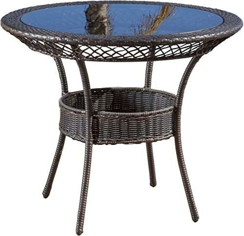 Christopher Knight Home Gaviota 34 Round Outdoor Wicker Dining Table