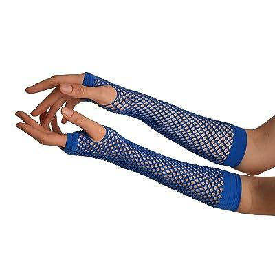 Blue Fishnet Mesh Net Fingerless Party Gloves - Bleu Gants Taille Unique