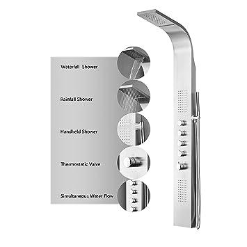 decor star 004ss 64inch stainless steel rainfall shower panel rain massage system