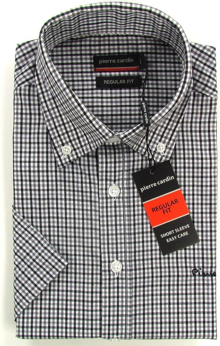Pierre Cardin - Camisa formal - Cuadrados - Manga corta - para hombre