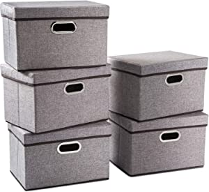 Prandom Collapsible Storage Containers with Lids [5-Pack] Linen Fabric Foldable Storage Bins Boxes Organizer Baskets Cube with Cover for Home Bedroom Closet Office Nursery (15x10x10)