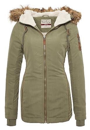 Urban Surface Damen Winterjacke | Weich gefütterte Jacke mit Kunstfell Kapuze & Teddyfell Innenfutter
