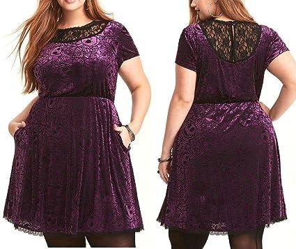 3059c617e5d6d Nightmare Before Christmas The Purple Velvet With Black Lace Jack Heads    Web Pattern Burnout Dress
