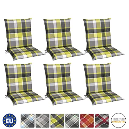 Beautissu Set de 6 Cojines para sillas de Exterior y jardín con Respaldo bajo Sunny GR Verde 100x50x6 cm tumbonas, mecedoras, Asientos cómodo ...