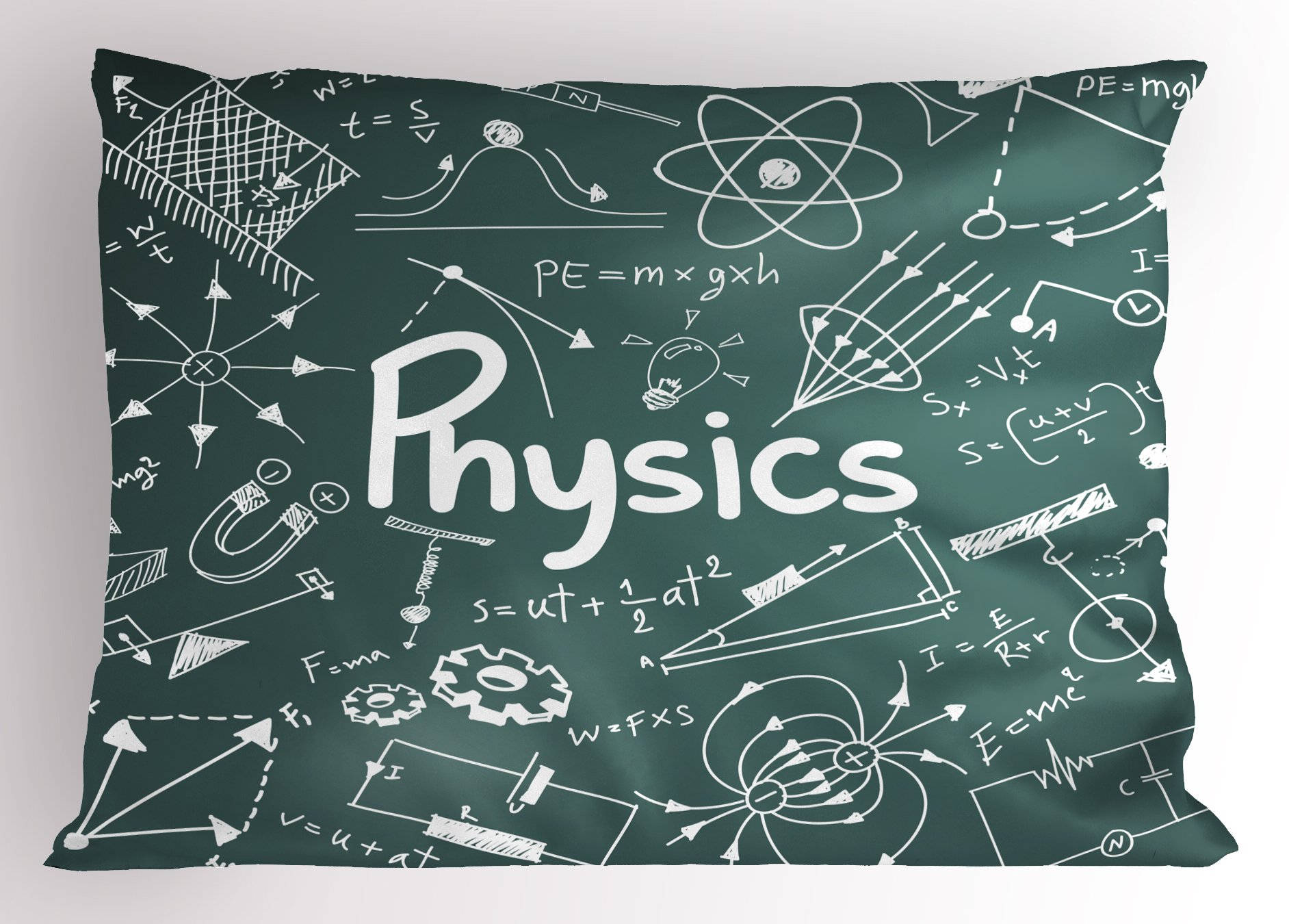 Ambesonne Doodle Pillow Sham, Physics Science Education Theme Mathematical Formula Equation on School Board, Decorative Standard Size Printed Pillowcase, 26 X 20 inches, Army Green White