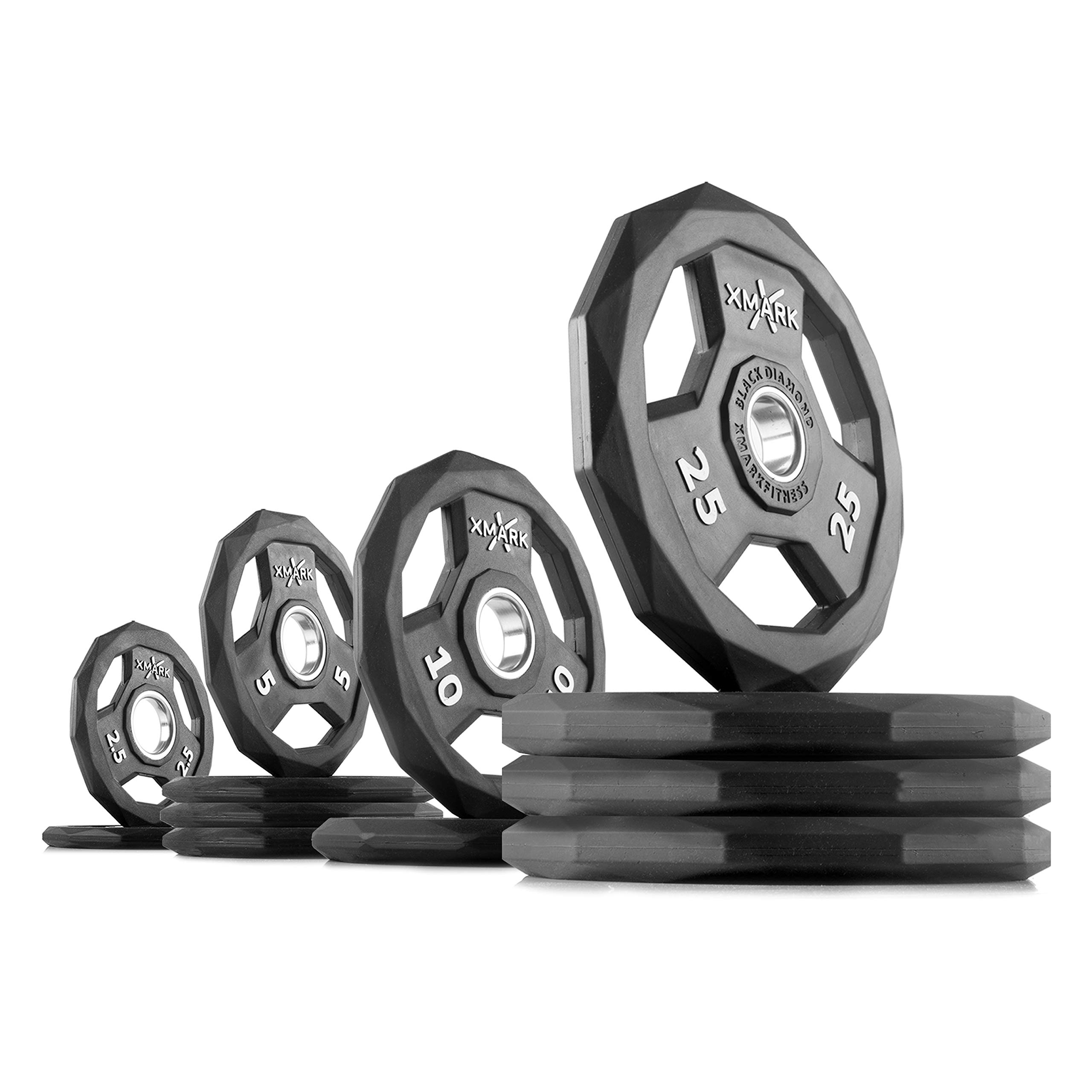 XMark Black Diamond 145 lb Set Olympic Weight Plates, One-Year Warranty, Patented Design