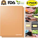 Copper Grill Mat,Lpartsol Reusable PTFE Coated Non-stick Silicone BBQ Baking Grill Sheet Mat (2 pack)