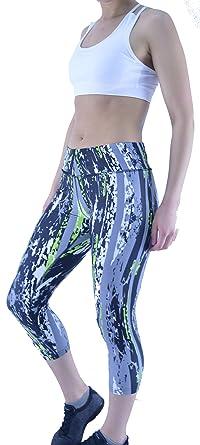 bd70011556 Womens Active Fitness Running Gym Exercise Yoga Pattern 3/4 Capri Leggings  Sport (Size