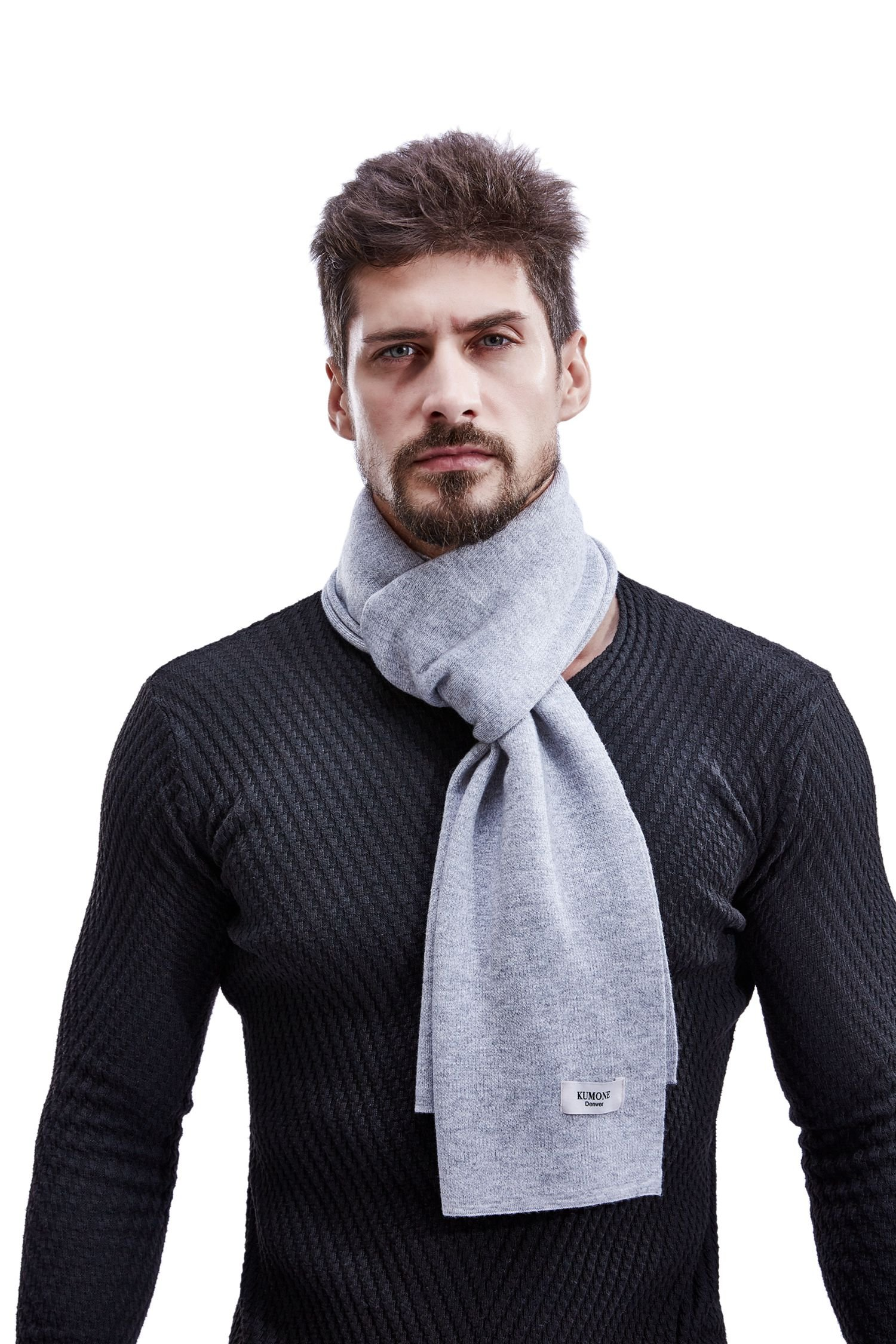 KUMONE Men Scarf Cashmere Winter Knit Wool Scarves with Gift Bag, Gray