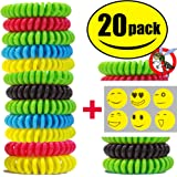 STURME 20 Pack Natural Mosquito Repellent Bracelets Waterproof Wristband Wrist Band Travel Bug Insect Protection Up To 300 Hours No Deet Pest Control For Kids Adults Outdoor Camping Fishing Traveling