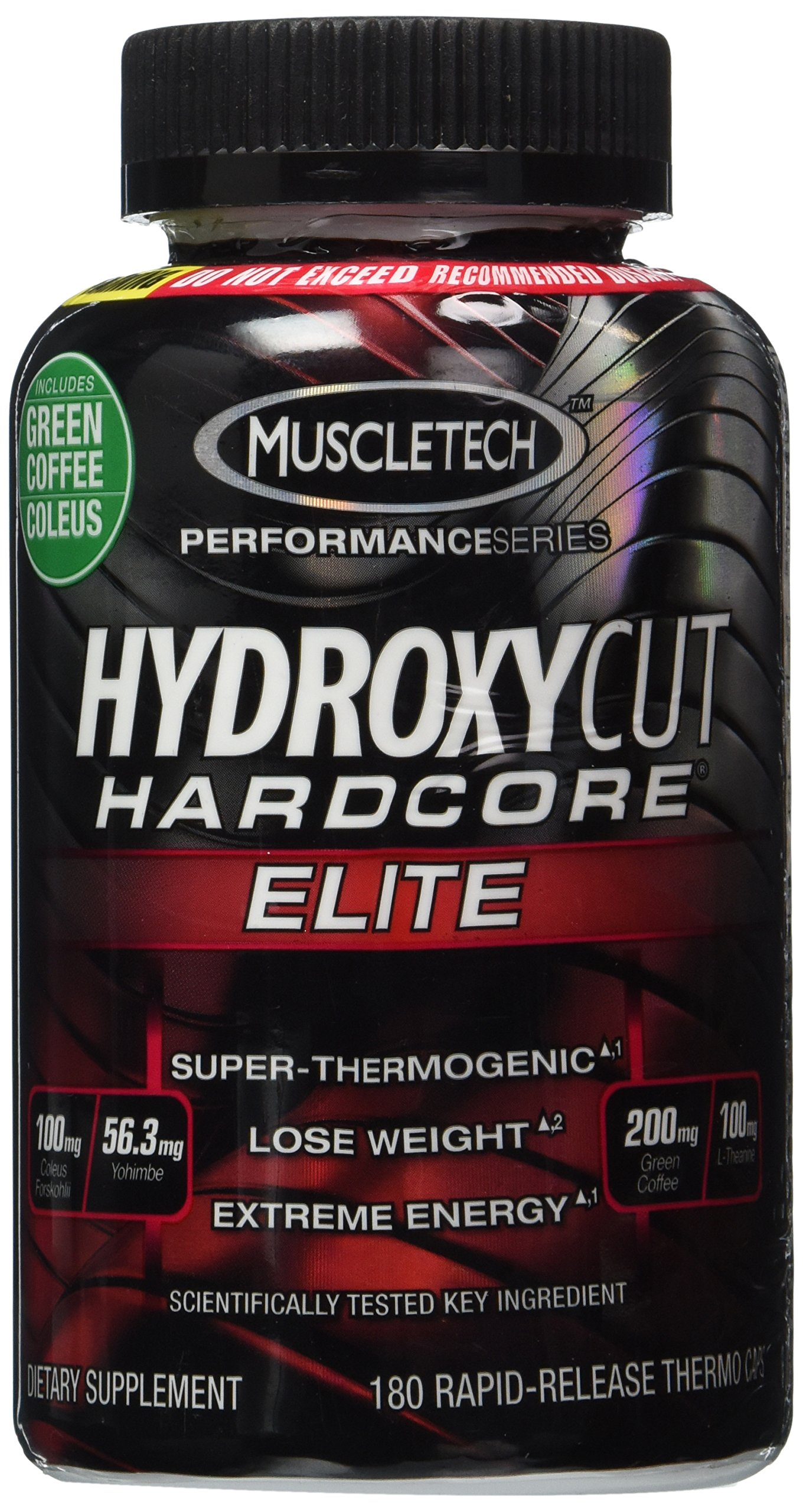 Hydroxycut Hardcore Elite - Svetol Green Coffee Bean Extract Formula, 180 Rapid-Release Thermo Caps